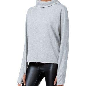 Rachel Roy Terry Thumbhole Sweater XS Grey